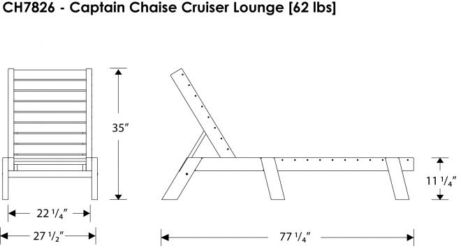 Captain's Chaise Lounge - Recycled Outdoor Furniture - CH7826