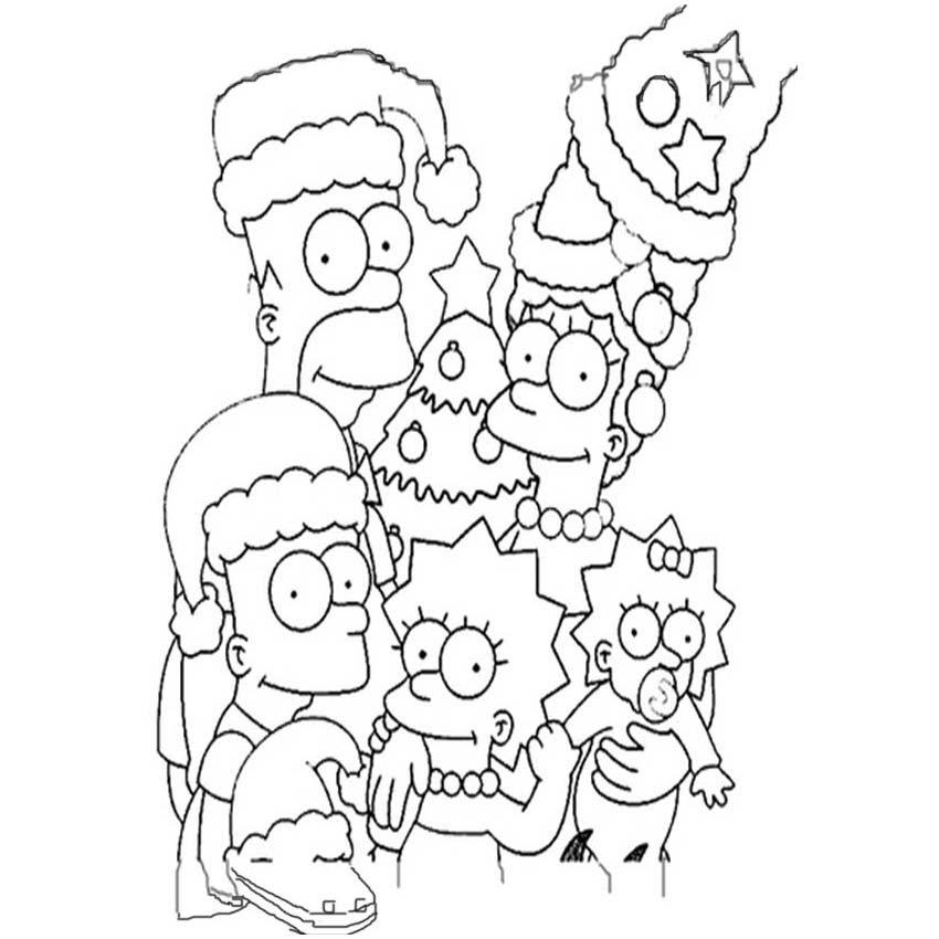 Dibujos De Los Simpson En Navidad Para Colorear
