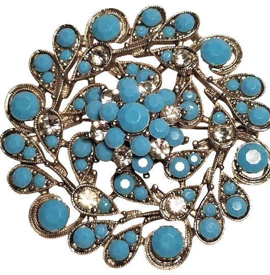Vintage Faux Turquoise Rhinestones Silver Tone Brooch