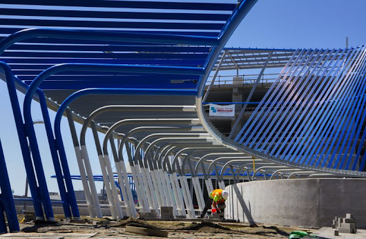 Light rail's Angle Lake Station in SeaTac nears the finish line