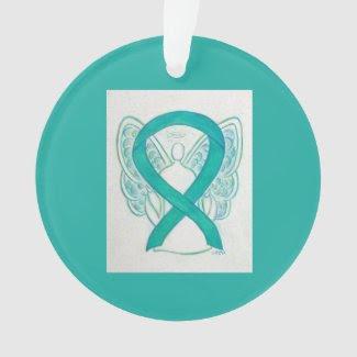 Emerald Green Awareness Ribbon Angel Ornaments