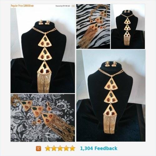 ON SALE TRIFARI Designer Signed Bib Statement Runway Necklace Earring Set, Vintage Demi Parure 70's ...