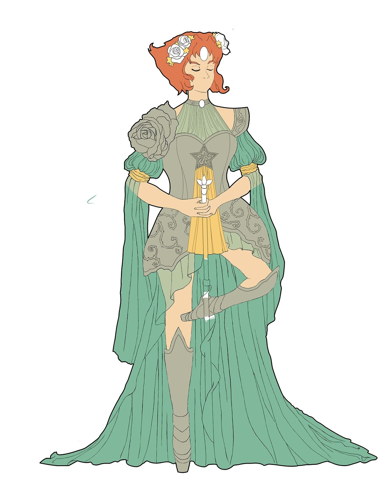WIP: redo of my art noveau armor Pearl I did about a year ago. Trying out a new color palette, and this time she has a whole leg instead of awkwardly cutting off mid calf.