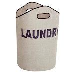 Honey-Can-Do LDY-02915 laundry tote heather gray / navy