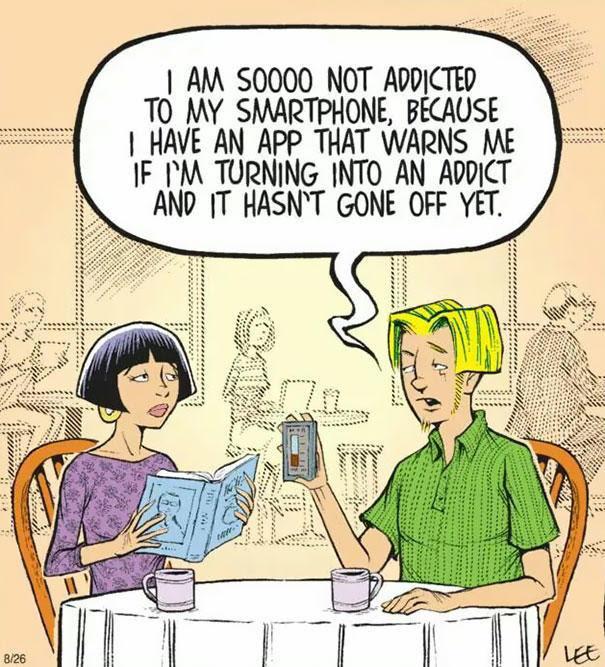 smartphone addiction illustrations cartoons 3 605 Το τέλος της αληθινής επικοινωνίας: 22 Εικόνες που δείχνουν πως τα «έξυπνα» κινητά άλλαξαν (προς το χειρότερο) τις ζωές μας.