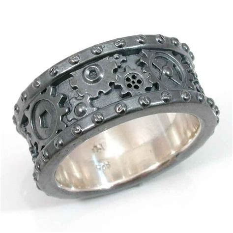 Steampunk Black Silver Gear Ring   Steam punk Wedding Ring