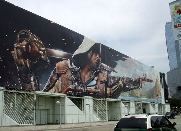 A large banner promoting the upcoming ASSASSIN'S CREED: BLACK FLAG.