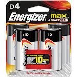 Energizer Max E95BP-4 Battery - D - Alkaline