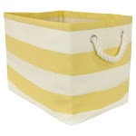 DII Rectangle Modern Style Paper Stripe Small Storage Bin in Yellow - CAMZ34898
