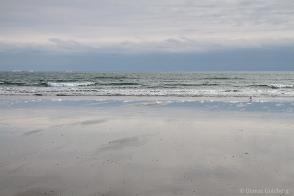 subtle reflections, clouds, ocean, sand