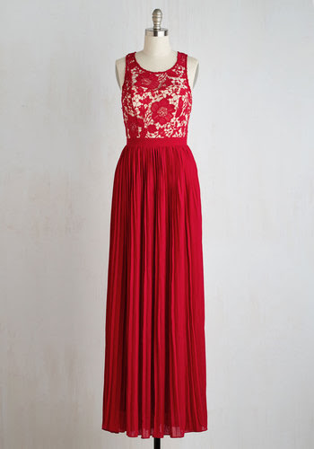Romantic Semantics Dress in Crimson - Red, Tan / Cream, Solid, Lace, Pleats, Special Occasion, Prom, Homecoming, A-line, Maxi, Sleeveless, Woven, Better, Long, Variation, Wedding, Bridesmaid