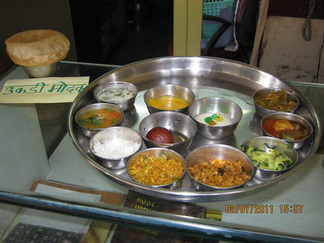 Today's Menu includes 'Phodanichi Poli' and 'Ukadiche Modak' at a joint in Suvarna Nagari, Swami Vivekanand Road, Bibwewadi, Pune 411 037