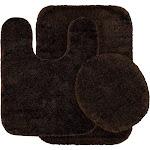 Garland Traditional Nylon 3-Piece Washable Bathroom Rug Set, Brown