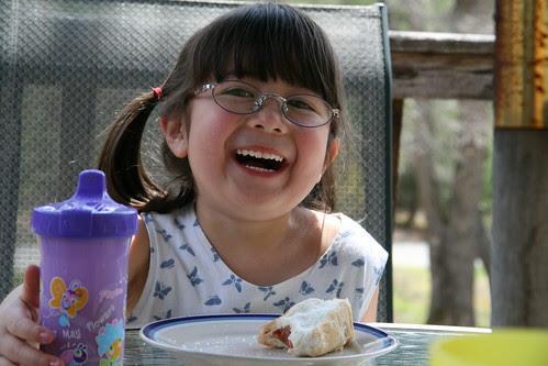 Happy hotdog girl