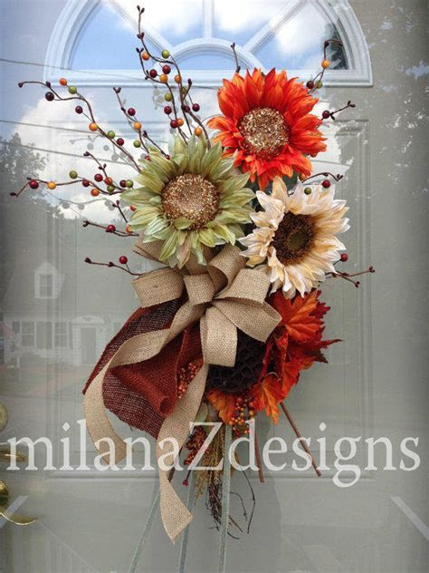 Sunflower Wreath, Fall Autumn Swag, from milanaZdesigns on