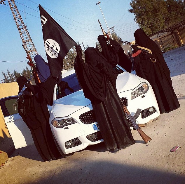 A Twitter account understood to belong to Zehra Duman posted a series of photographs of jihadist women 'from Australia and the US' posing with a BMW M5, which they said originated in France