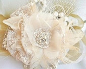 Bridal Headpiece, Bridal Hair Flower, Lace, Tulle, Feather, Crystal, Pearl, Bridal Hair Accessory, Wedding Flower Headpiece