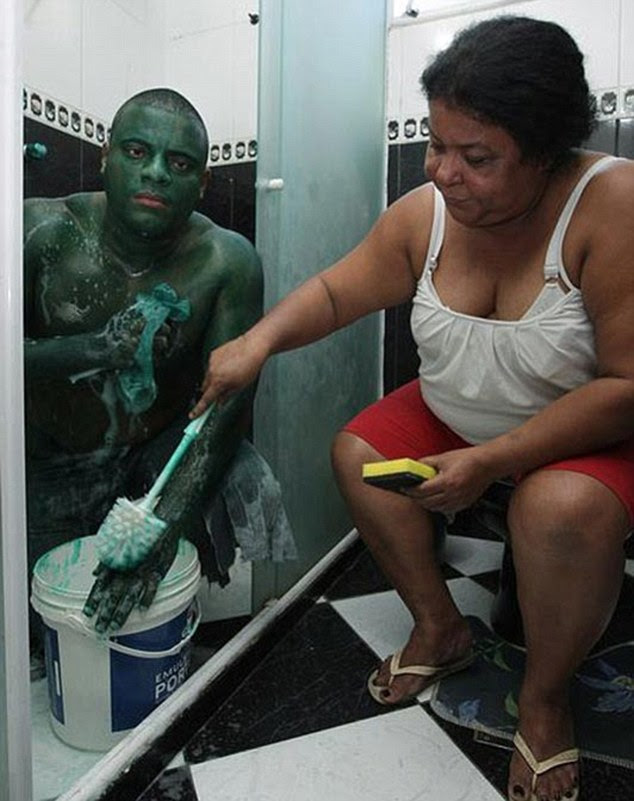 Maternal mix-up: The hapless Hulk is helped by his mother - who media reports referred to as his girlfriend