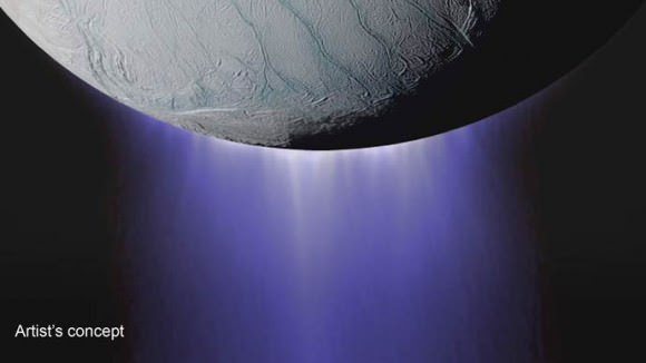 An artist's impression of the plumes coming from Enceladus. Image: NASA/JPL.