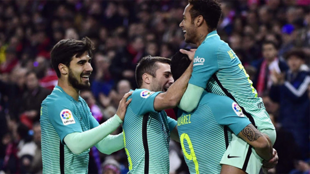 Barca Players Celebrating Goal against Atletico Madrid