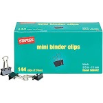 "Staples Mini Metal Binder Clips Bulk Pack Black 3/5"" Size with 1/4"" Capacity 566942"