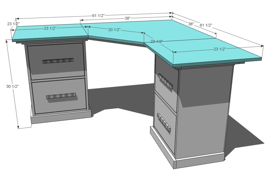 Office Corner Desktop Plans   Ana White