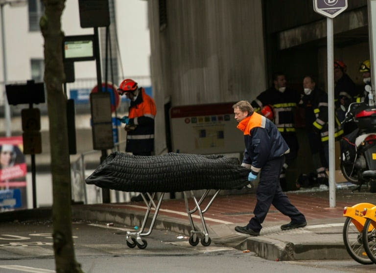 Outside the Maalbeek metro  station in Brussels last year where 16 of the 32 victims in the attacks died