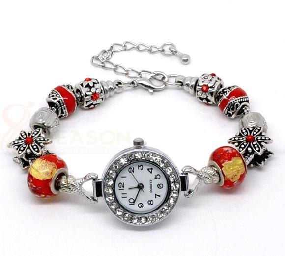Handmade Red Charm Beaded Watch Bracelet