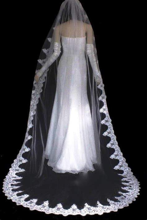 Bella French Lace Ivory Cathedral Wedding Veil on Sale, 39