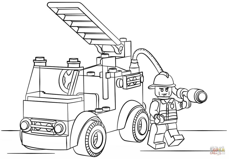 消防車のレゴ ぬりえ