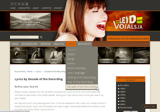 Lead Vocals - Browse Lyrics by Musical Decade