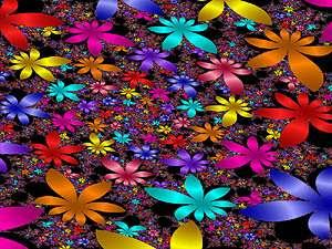 Parterre de fleurs graphiques et multicolores générée par calcul de fractale