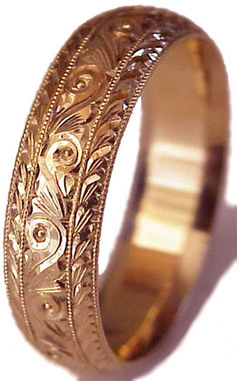 NEW ! HAND ENGRAVED MEN'S 14K ROSE GOLD 6MM WIDE WEDDING