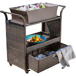 Christopher Knight Home Bar Cart in Brown with Ice Bucket