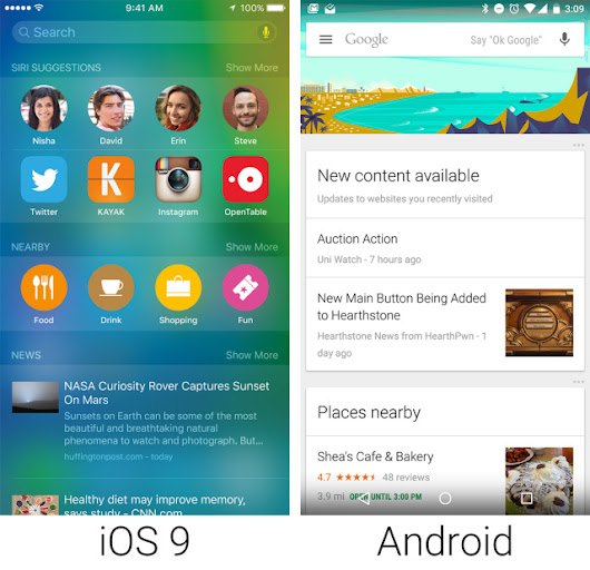 Everybody copies everyone: iOS 9 features inspired by Android