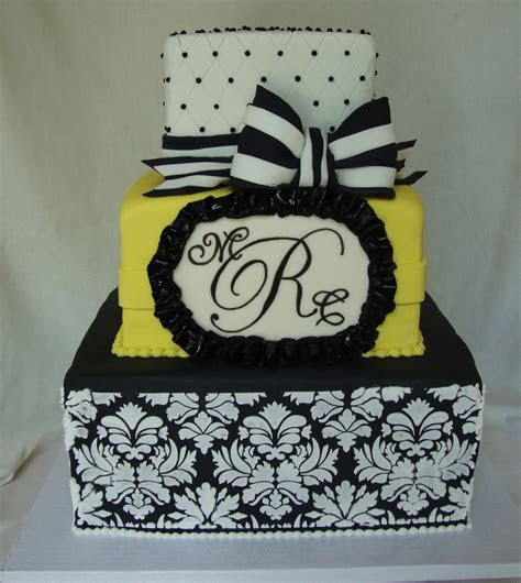 Black, White & Yellow Damask Wedding Cake   CakeCentral.com