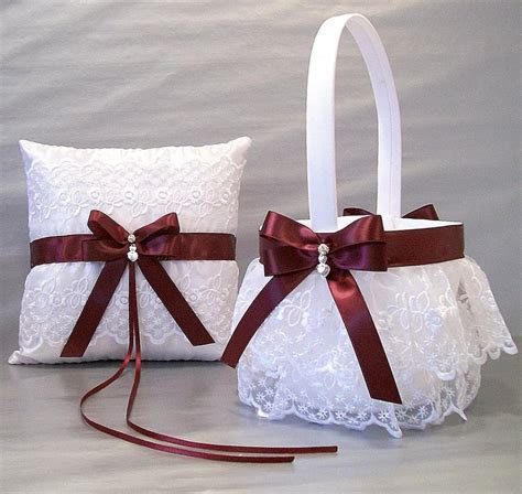 Burgundy Wedding, Bridal, Flower Girl Basket And Ring