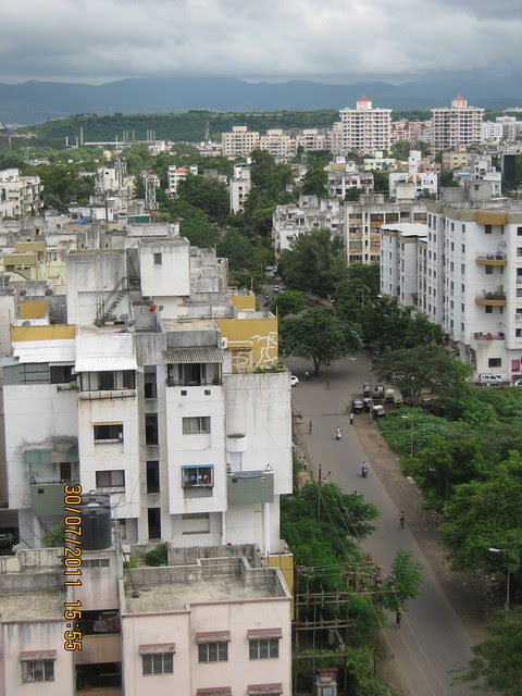 "View of the road from Kinara Hotel to Ready Possession Flat No. J 1001 in Pethkar Projects' ""Balwantpuram Samrajya"", at Shivtirthnagar, Paud Road, Kothrud - Pune 411 038"