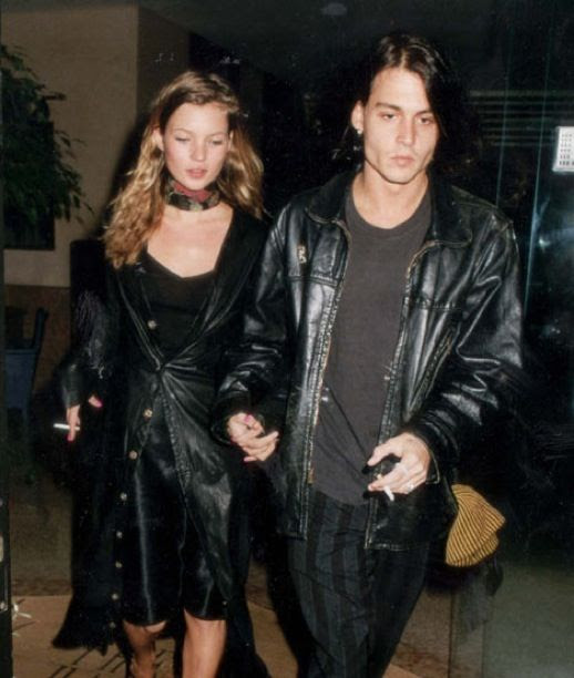 LE FASHION BLOG JOHNNY DEPP KATE MOSS JOHNNY AND KATE INSPIRATION SCARF CHOKER NECK SMOKING LEATHER LONG TRENCH COAT BLACK DRESS 15
