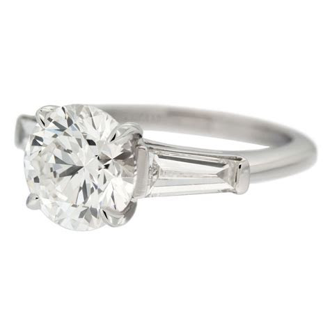 Solitaire Diamond Engagement Ring with Tapered Baguette