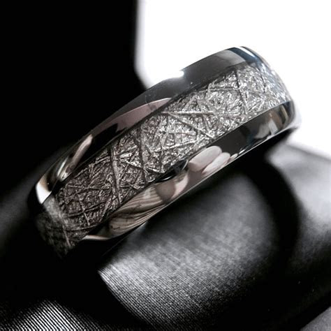 meteorite ring meteorite wedding band meteorite engagement