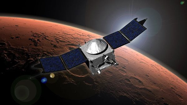 A composite image showing NASA's MAVEN spacecraft in orbit around Mars.