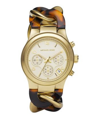 Michael Kors Chain-Link Watch, Tortoise.