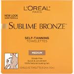L'Oreal Paris Sublime Bronze Self-Tanning Towelettes, Medium - 6 count