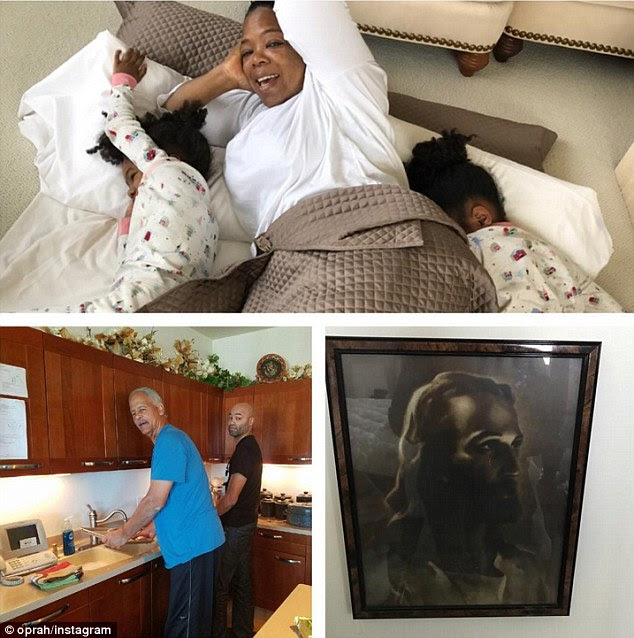 The full story: The 62-year-old captioned the trio of pictures, 'You know you're Home when .... there's a 'pallet' on the floor, 'the men' making breakfast .. and Jesus is watching from the wall. #Milwaukee #happyholidays'