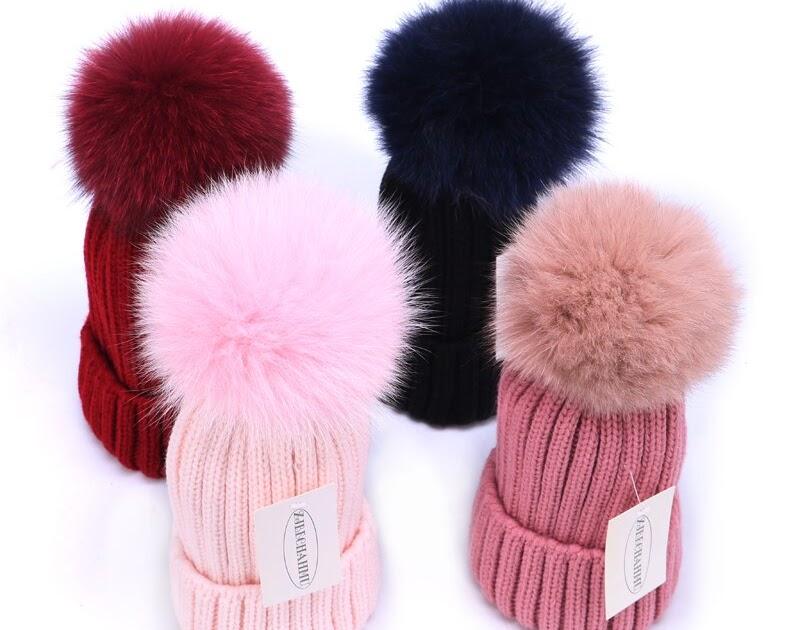 Comprar Real De Moda Piel Zorro Pompones Bola Caliente Gorros Invierno Para  Mujeres Lana Las Niñas b96084de7ef