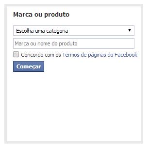 Opções detalhadas na criação da página no Facebook