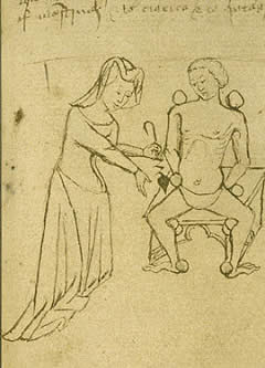 Mujer medieval curando a un hombre