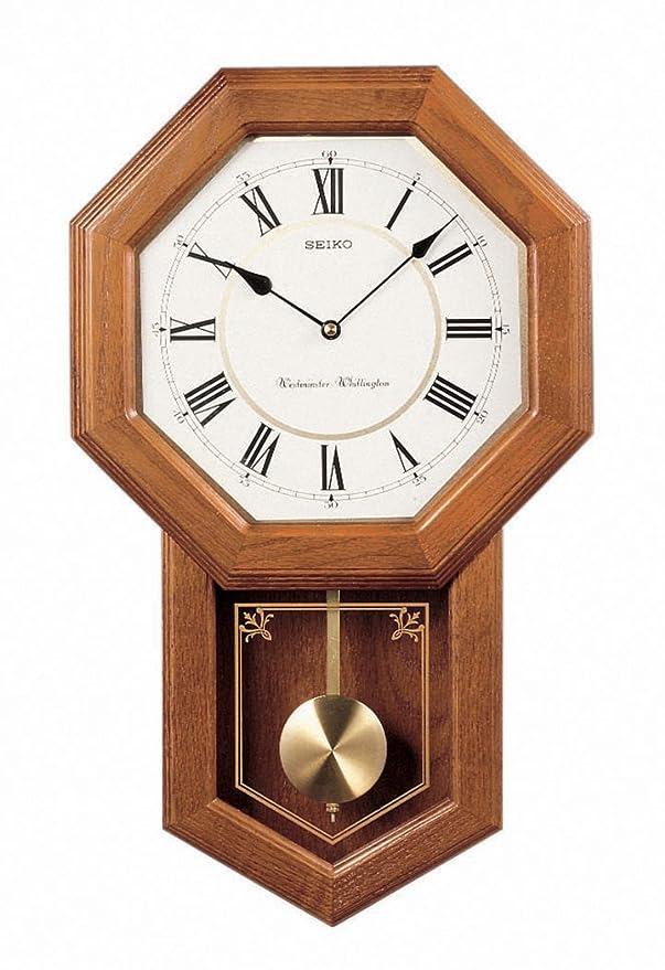 Amazon.com: Seiko Wall Pendulum Schoolhouse Clock Dark Brown Solid ...