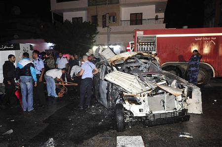 A car bomb exploded outside a police station in Benghazi, Libya on November 4, 2012. The violence continues in the post-Gaddafi North African state. by Pan-African News Wire File Photos